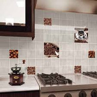 """Кафель для кухни """"Акварель"""" оранжевая"""