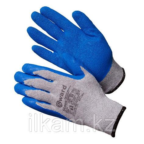 Перчатки хлопчатобумажные серые с синим текстурированным латексом Gward Stoun, фото 2
