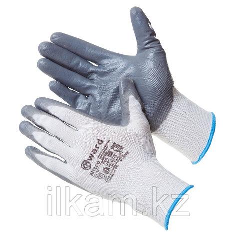 Перчатки нейлоновые  белые с серым нитриловым покрытием B-класса.Gward Nitro, фото 2
