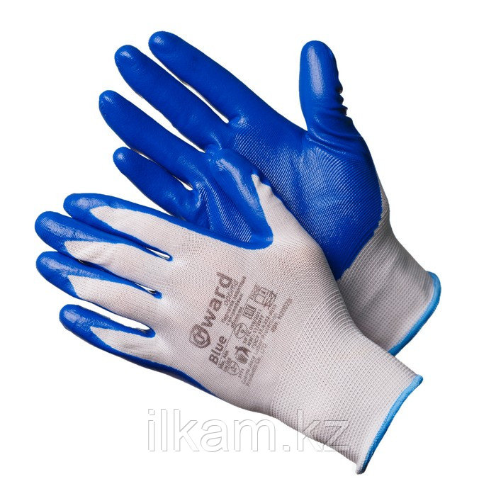 Перчатки нейлоновые белые с синим нитриловым покрытием. Gward Blue