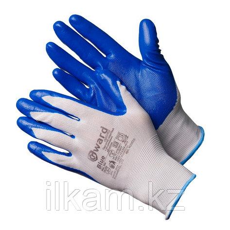 Перчатки нейлоновые белые с синим нитриловым покрытием. Gward Blue, фото 2