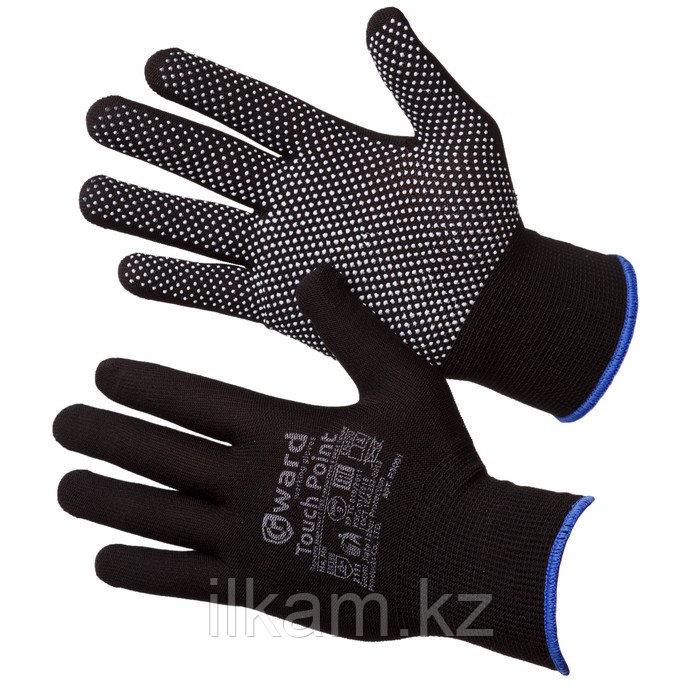 Перчатки нейлоновые с ПВХ микроточкой черные Gward Touch Point 9