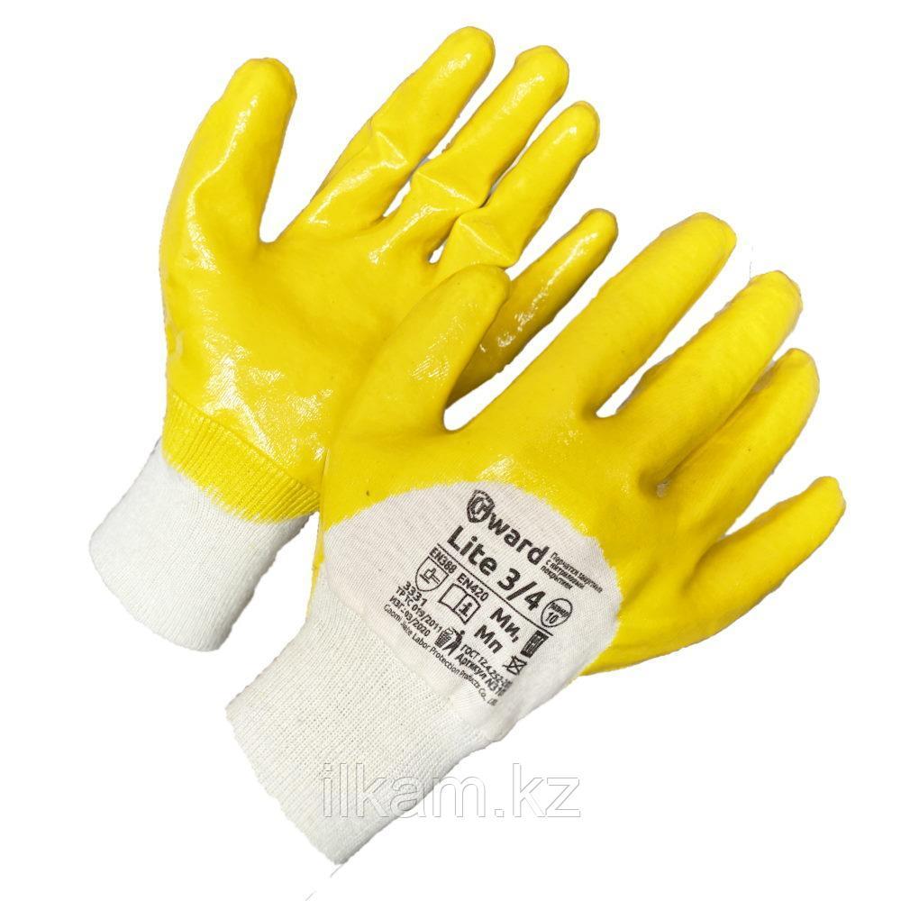 Перчатки маслобензостойкие, премиум-нитриловые , покрытые в три четверти,Gward Lite три четверти