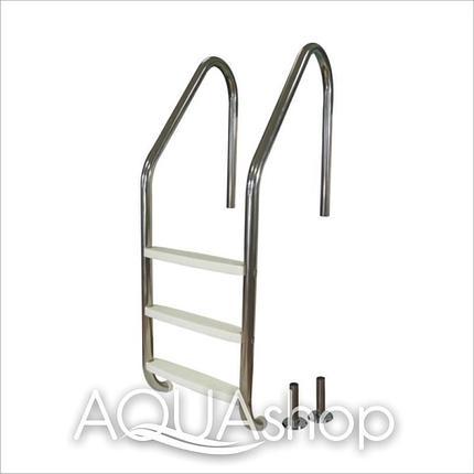Лестница для бассейна (нержавеющая сталь + пластиковые ступени) PowerFul PSSL01-3/42, 3 ступени, фото 2