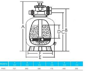 Фильтр для бассейна Aqualine P500 (D500)(10,8m3/h, 527mm, 85kg, верх), фото 2