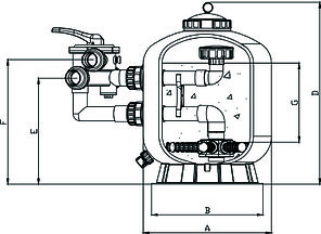 Фильтр Aqualine SP650(15,3m3/h, 627mm, 145kg, бок), фото 2