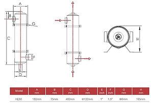 Теплообменник Aqualine HE 60 кВт (нержавеющая сталь), фото 3