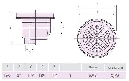 Донный слив IML A-008-2 (в бетон), фото 2