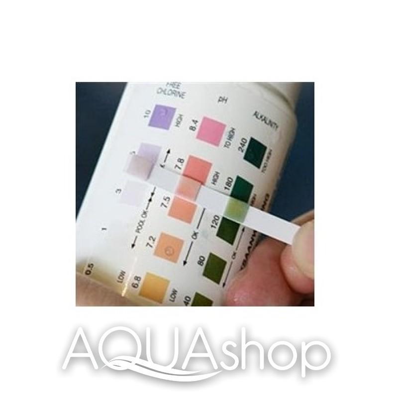 Тест-полоски для измерения свободного хлора, pH, общей щелочности воды в бассейне