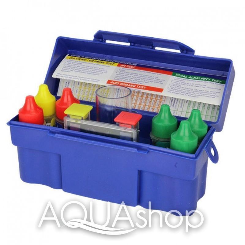 Тестер капельный pH, Cl, Br, щелочность, кислотность, жесткость воды в бассейне