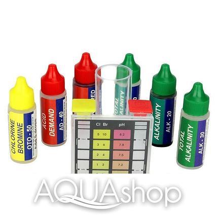 Тестер капельный pH, Cl, Br, щелочность, кислотность, жесткость воды в бассейне, фото 2
