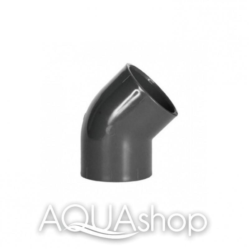 Уголок 45° диаметр 75 мм. ПВХ фитинги для бассейнов.