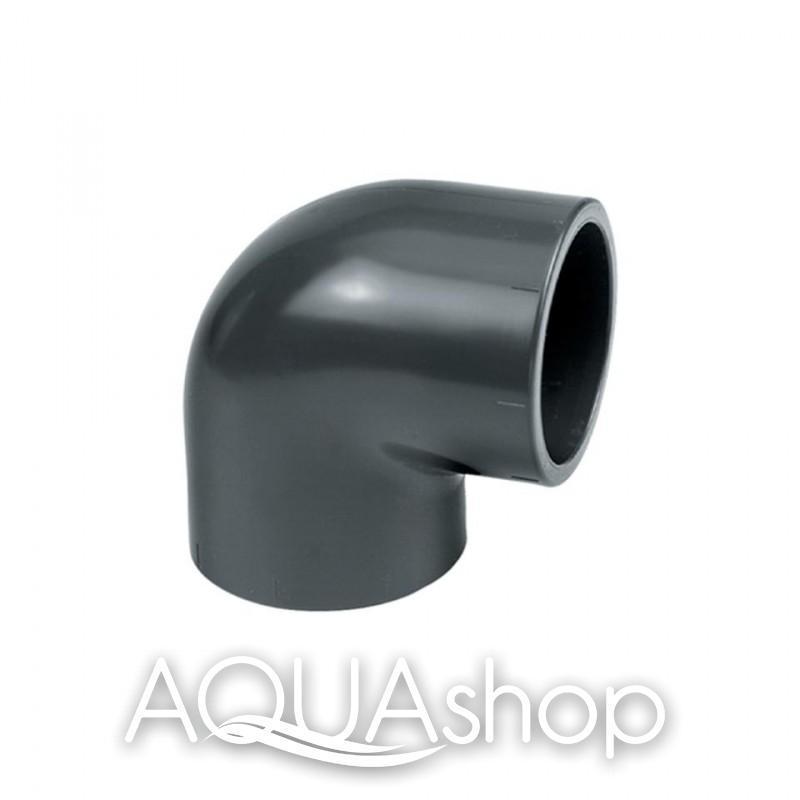 Уголок 90° диаметр 75 мм. ПВХ фитинги для бассейнов.