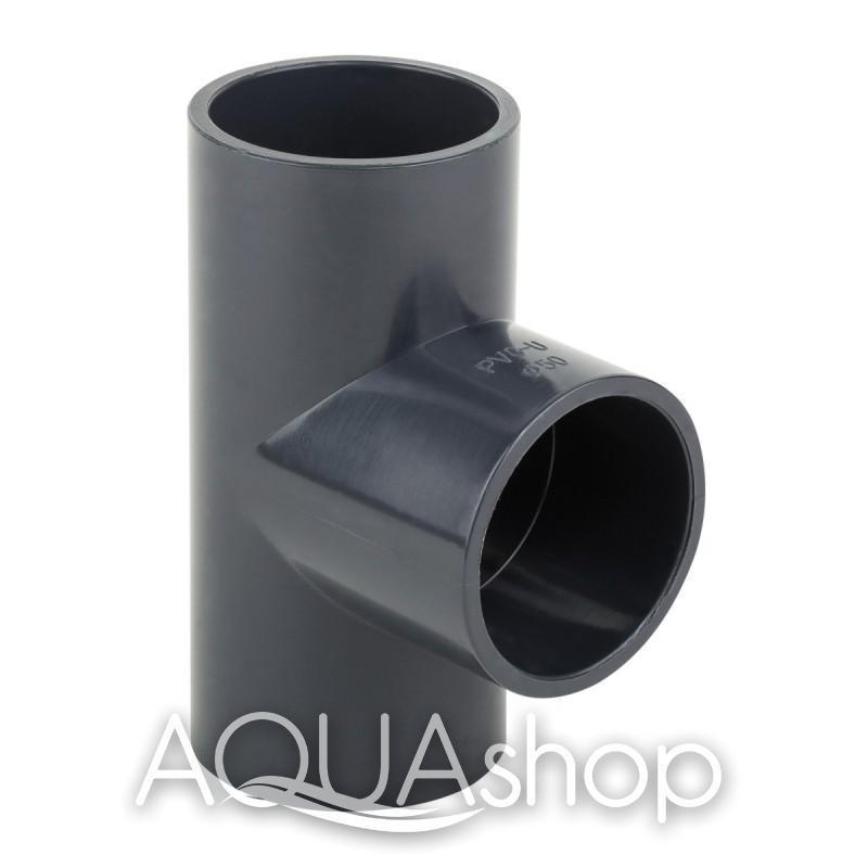 Тройник 90° диаметр 75 мм. ПВХ фитинги для бассейнов.