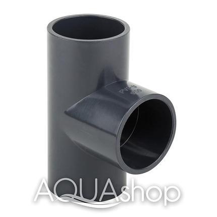 Тройник 90° диаметр 75 мм. ПВХ фитинги для бассейнов., фото 2