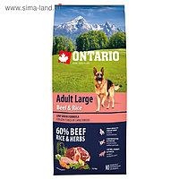 Сухой корм Ontario для собак крупных пород, говядина и рис, 12 кг.