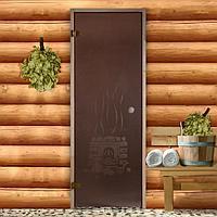 Дверь для бани и сауны 190×70 см, Банька, круглая ручка, левое открывание