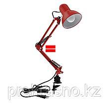 Лампа настольная на струбцине красная