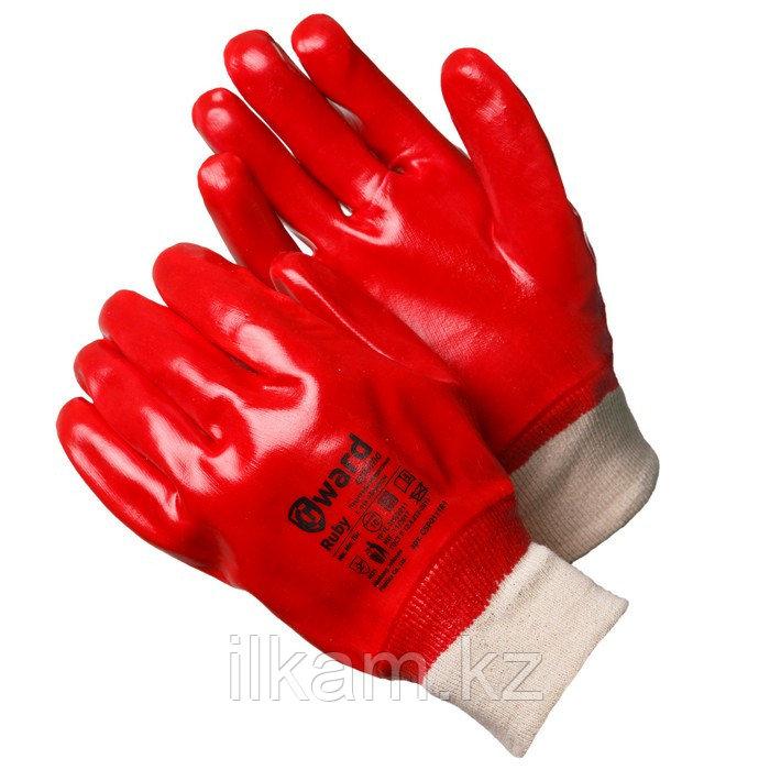 Перчатки маслобензостойкие, с ПВХ покрытием с манжетой-резинкой Gward Ruby