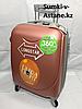 Маленький пластиковый дорожный чемодан на 4-х колесах.Высота 53 см, ширина 33 см, глубина 21 см.