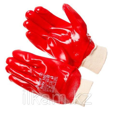 Перчатки маслобензостойкие, с ПВХ покрытием облегченные, с манжетой-резинкой Gward Ruby 100, фото 2