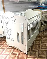 Детская кроватка ВДК Sweet Bear с маятником с ящиком Белый