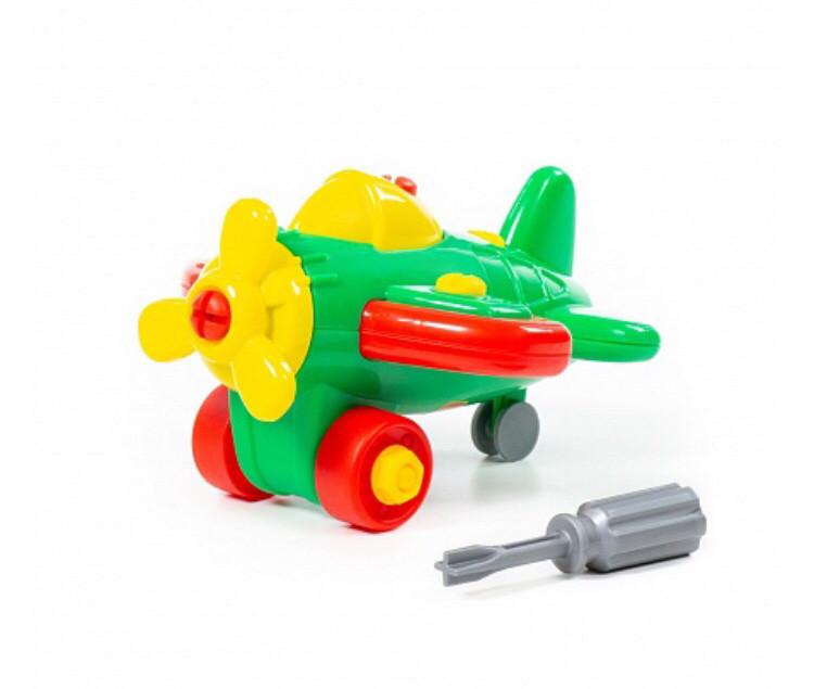 Конструктор-транспорт Самолёт, 19 элементов, в пакете