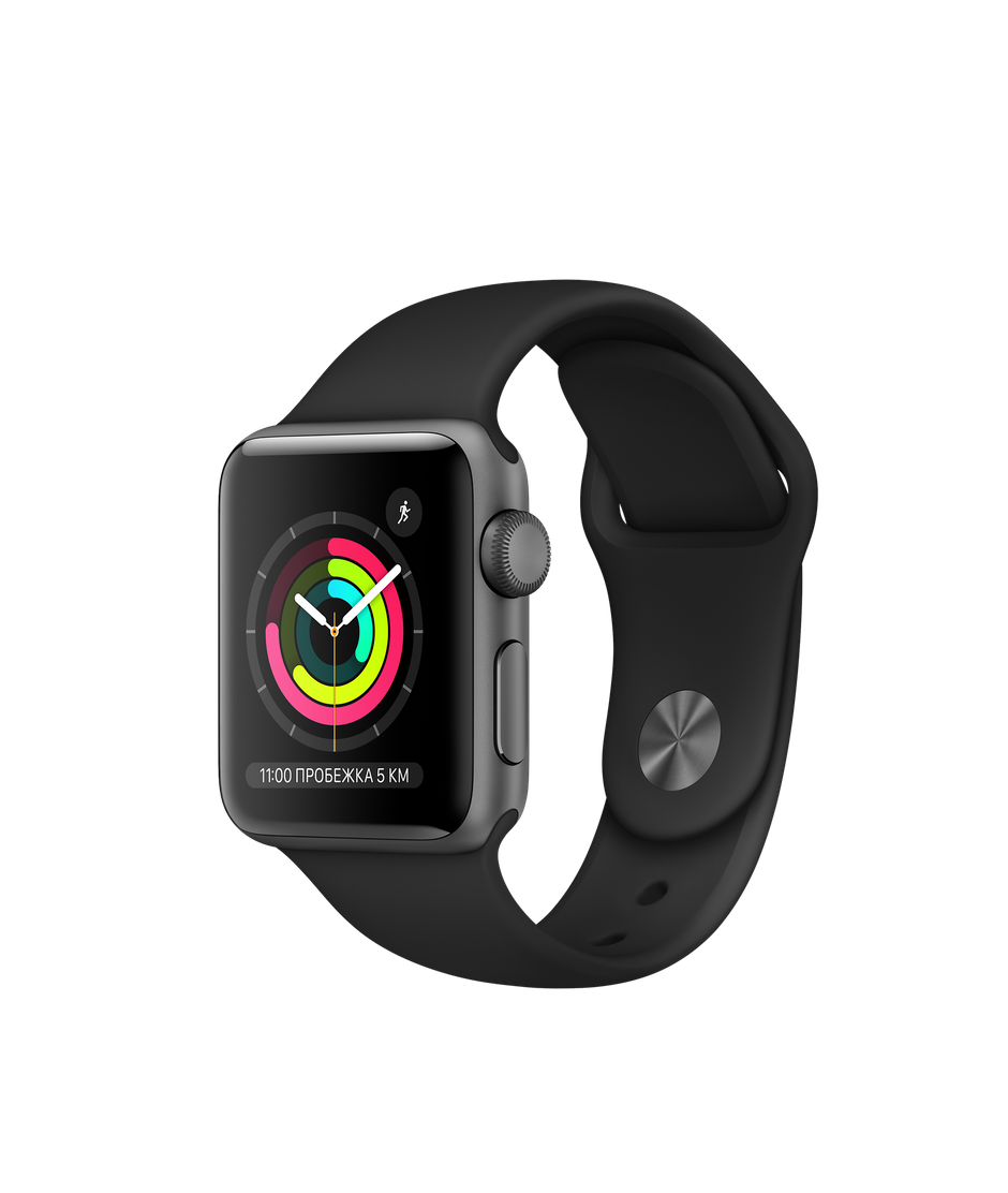 Apple Watch Series 3 38mm Space Gray Aluminum Case with Black Sport Band