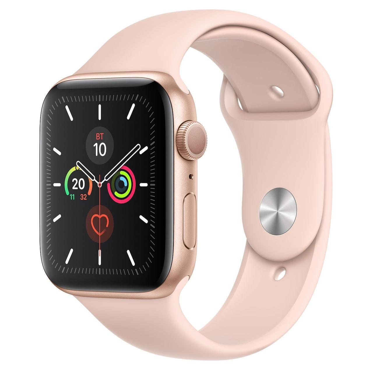 Apple Watch Series 5 44mm Gold Aluminum Case with Pink Sand Sport Band
