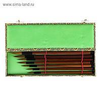 Набор кистей для каллиграфии, 7 штук, из меха куницы, ручка из бамбука , в пенале
