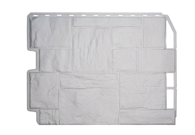 Фасадные панели Белый 795х595 мм Дачный Туф FINEBER