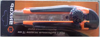 Нож с выдвижным лезвием 18 мм, двухкомпонентный корпус, металлическая направляющая,  винтовой фиксатор, Вихрь, фото 1