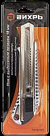 Нож с выдвижным лезвием 18 мм, металлический корпус, металлическая направляющая, автоматический фиксатор,, фото 1