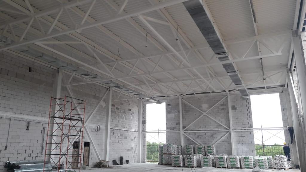 Нанесение огнезащитного покрытия на металлоконструкции строящегося объекта «Болашак сарайы» г.Кокшетау/ 2020г.