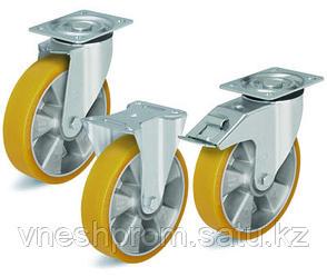 Большегрузные колёса с полиуретановым контактным слоем, с алюминиевым основанием колеса