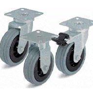 Колёса с цельнолитой резиновой шиной, с пластмассовым ободом