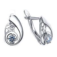 Серьги из серебра с фианитом Золотые узоры  90-02-6527-00