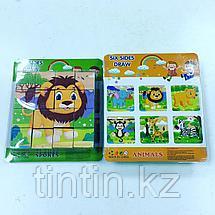 Деревянные кубики-пазлы из 16 деталей, фото 2