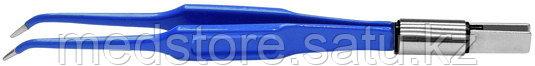 Биполярный пинцет микрохирургический загнутый антипригарный, длина 135 мм. 6 х 0,5 мм. ЕМ263-3СЕ