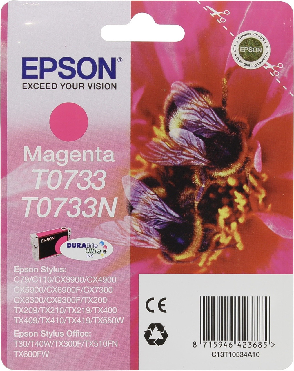 Картридж струйный Epson C13T10534A10 (Magenta, 270 стр)