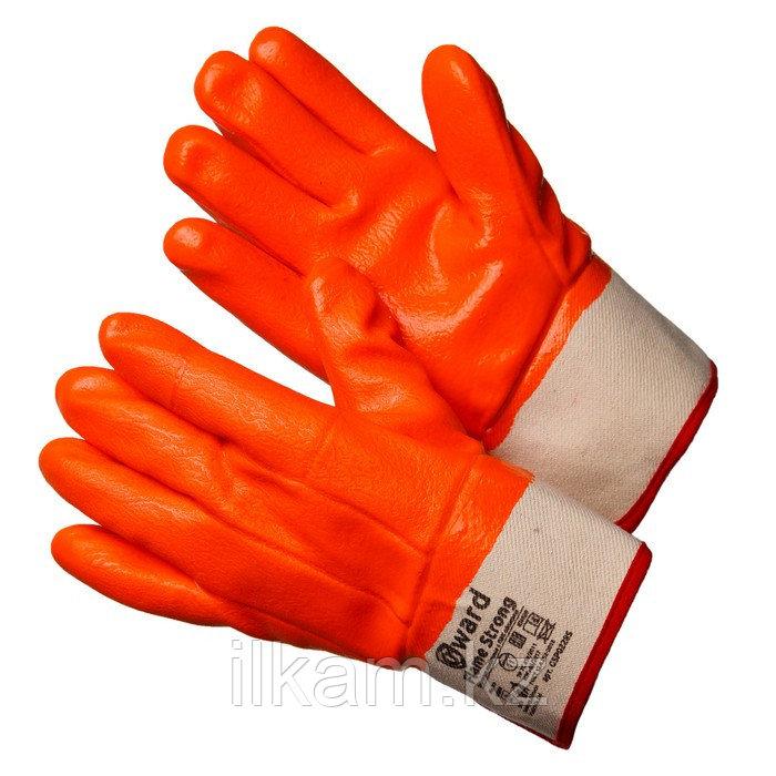 Перчатки утепленные трикотажные  с оранжевым МБС покрытием с манжетом крагой,Gward Flame Strong