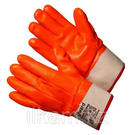 Перчатки утепленные трикотажные  с оранжевым МБС покрытием с манжетом крагой,Gward Flame Strong, фото 2