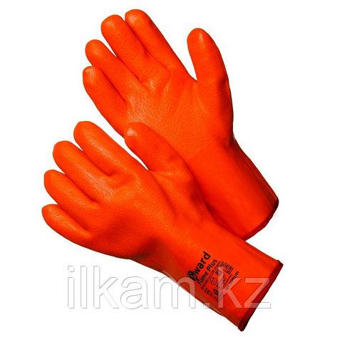 Перчатки утепленные трикотажные  с оранжевым МБС покрытием цельнозалитые, Gward Flame Plus, фото 2