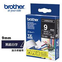 Лента TZ-325, белым на черном, для принтеров Brother PT-1010,  PT-1280VP, PT-D200VP, PT-E100VP и пр.