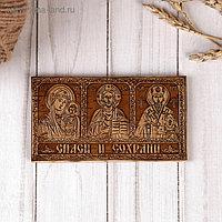 Икона «Триптих» 12х6,5 см, береста