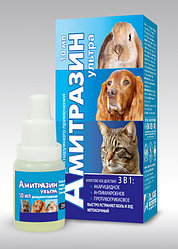 Капли ушные Амитразин ультра 10мл от ушного клеща, грибка, антимикробные