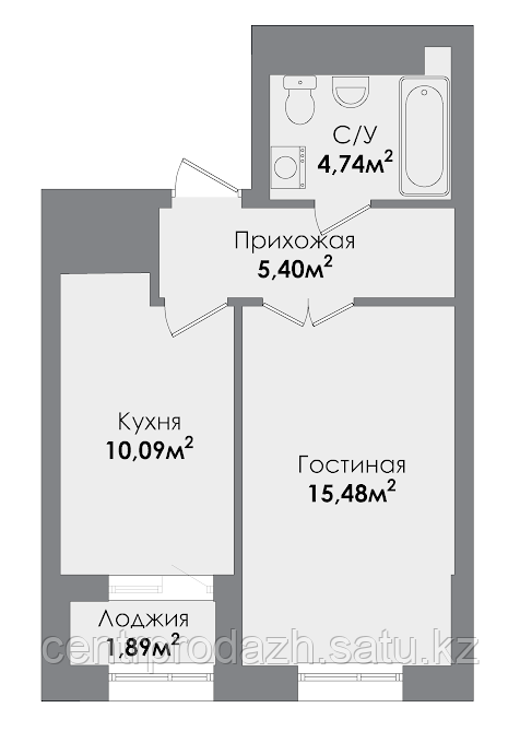 1 комнатная квартира в ЖК  Sezim Qala  37.13 м²