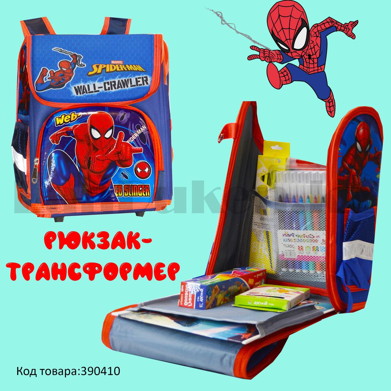 Ранец трансформер (складной) с ортопедической спинкой и со светоотражателями Человек Паук (Spider man) - фото 1