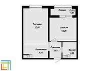 2 комнатная квартира в ЖК Sezim Qala 45.92  м², фото 1
