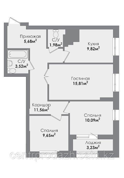 3 комнатная квартира в ЖК Sezim Qala 70.34 м²